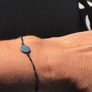 Jewelry - Adjustable Pave Black Blue Bead Bracelet